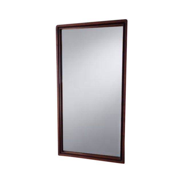 Image of Mid Century Black Framed Walnut Mirror