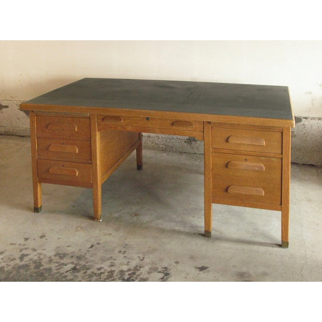 Large Oak Desk With Dark Green Leather Top - Image 2 of 6