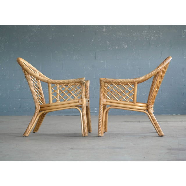 Mid Century Modern Danish Rattan Armchairs - a Pair - Image 5 of 11