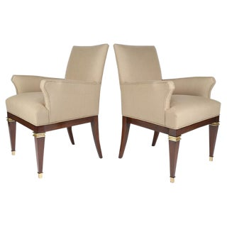 MAHOGANY AND BRASS ARMCHAIRS BY ARTURO PANI, CIRCA 1950S