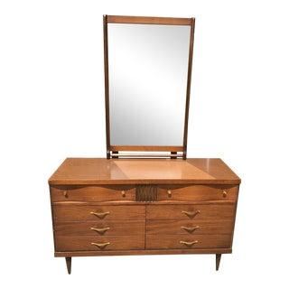 Mid-Century Modern Bassett Dresser with Mirror