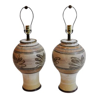 Vintage Organic Studio Pottery Table Lamps - A Pair