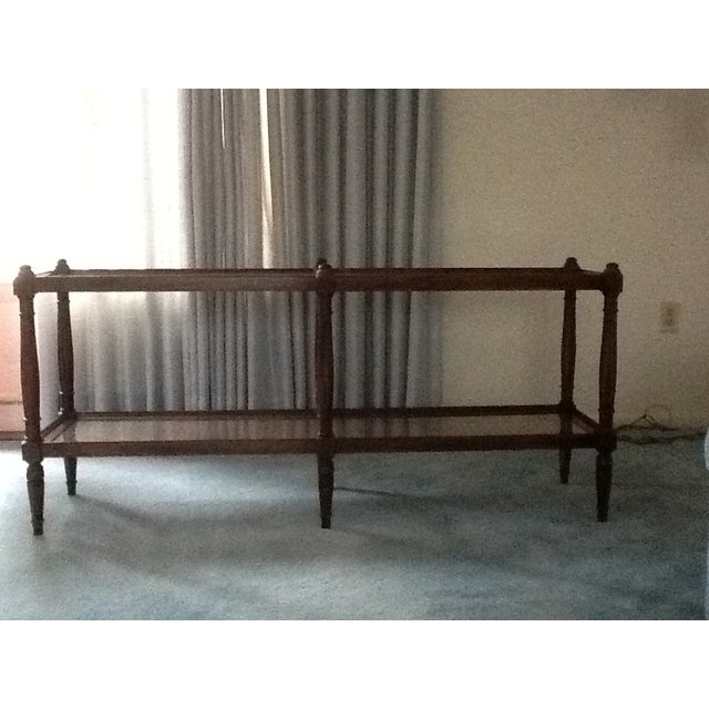 Cane & Glass Coffee Table with Shelf - Image 3 of 10