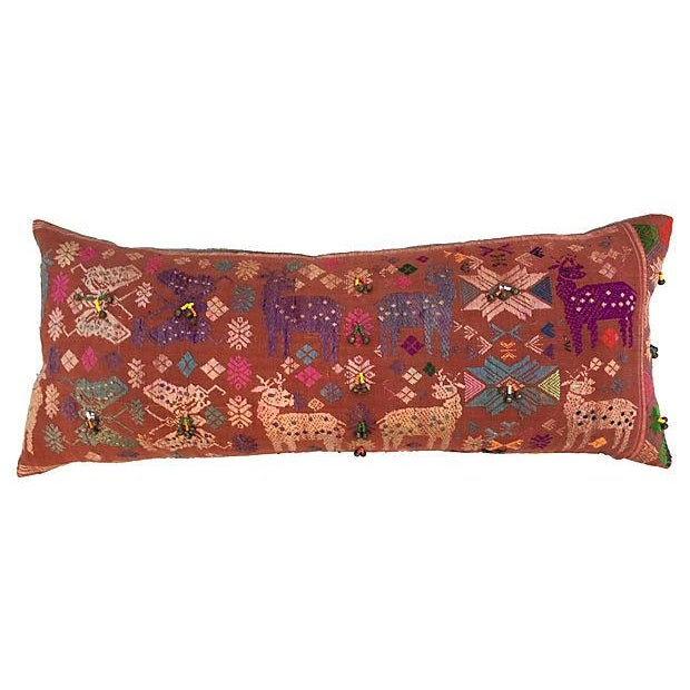 Antique Embroidered Textile Pillow - Image 1 of 8