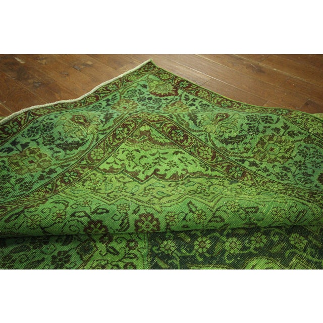 "Image of Lime Green Overdyed Tabriz Area Rug - 9'5"" x 12'"