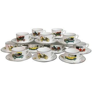 Limoges Antique Car Motif Coffee Set - 30 Pieces