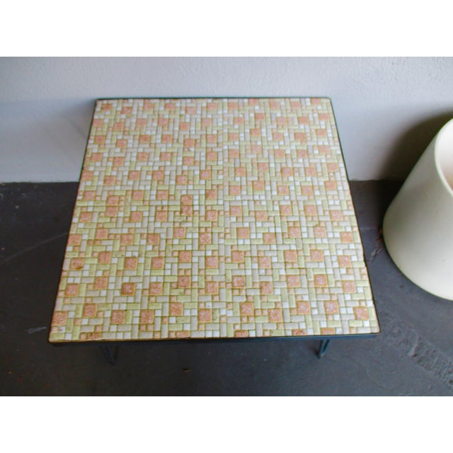 Mosaic Mid-Century Modern Orange and White Coffee Table Patio Furniture - Image 10 of 11