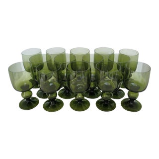 Olive Glass Stemware - Set of 14