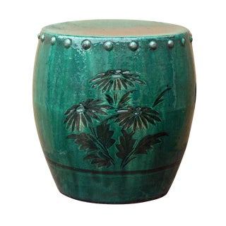 Chinese Vintage Green Glaze Round Ceramic Stool