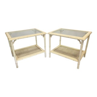 Faux Bamboo Fretwork Side Tables - A Pair