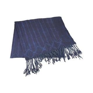 African Indigo Shiori Mud Cloth Throw
