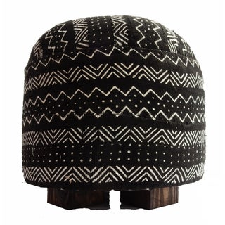 Malian Black & White Mud Cloth Ottoman