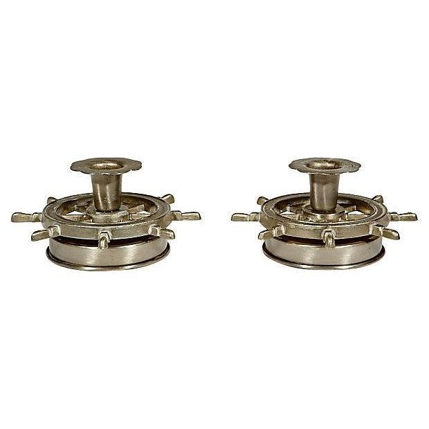 Nautical Metal Candleholders - Pair - Image 2 of 3