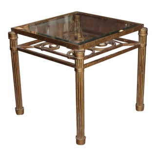 Gilded Iron and Glass Cocktail Table Circa 1940