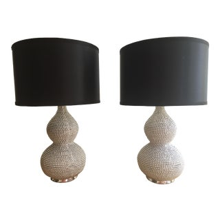 Silver Beaded Table Lamps With Black Shades - A Pair