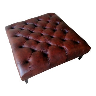 Gambrell Renard Tufted Brown Leather Ottoman