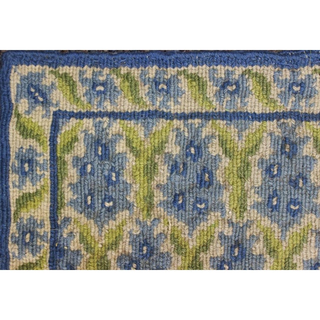 "Stark Green & Blue Pinecone Needlepoint Rug -- 2'2"" x 3'1"" - Image 2 of 3"