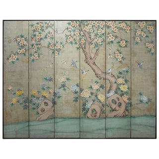 Chinoiserie Painted Silver Leaf 6-Panel Wallpaper Screen