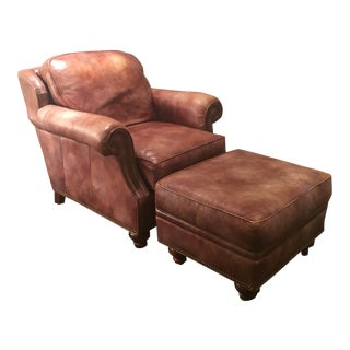 Bradington Young Leather Club Chair & Ottoman