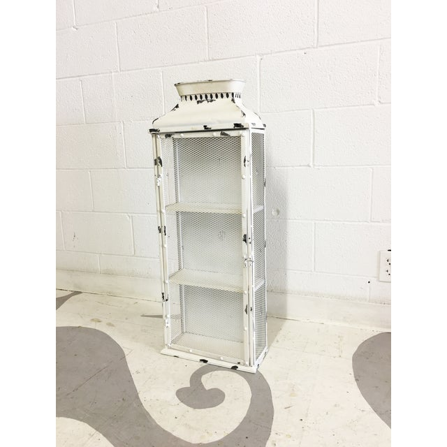 Shabby Chic White Metal Cabinet - Image 5 of 6