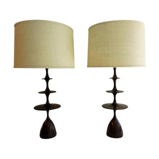 Walnut Metro Table Lamps - A Pair