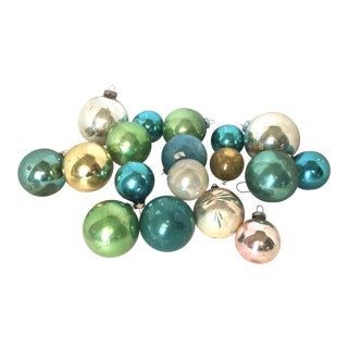 Mid-Century Pastel Colored Blown Glass Ornaments - Set of 18