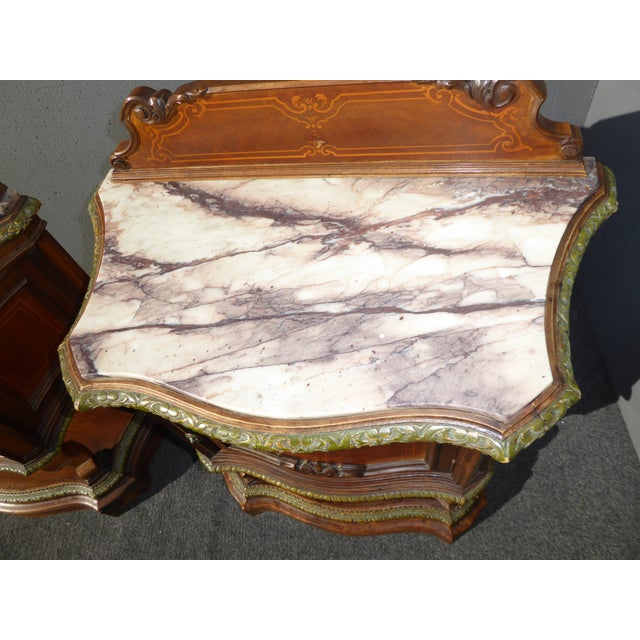Antique White Marble Top Nightstands - A Pair - Image 7 of 11
