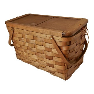 Vintage Split Wood Picnic Basket