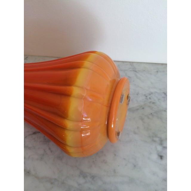 Mid-Century Orange Viking Ribbed Slung Glass Vase - Image 9 of 9