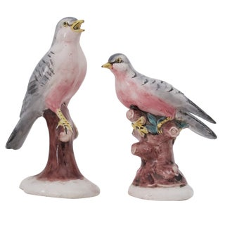Perched Ceramic Birds - A Pair