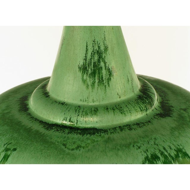 Image of Large Green Pottery Urn Form Table Lamp With Custom Shade