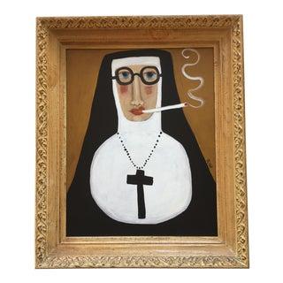 """Contemporary Folk Artist Rose Walton """"Smoking Nun"""""""
