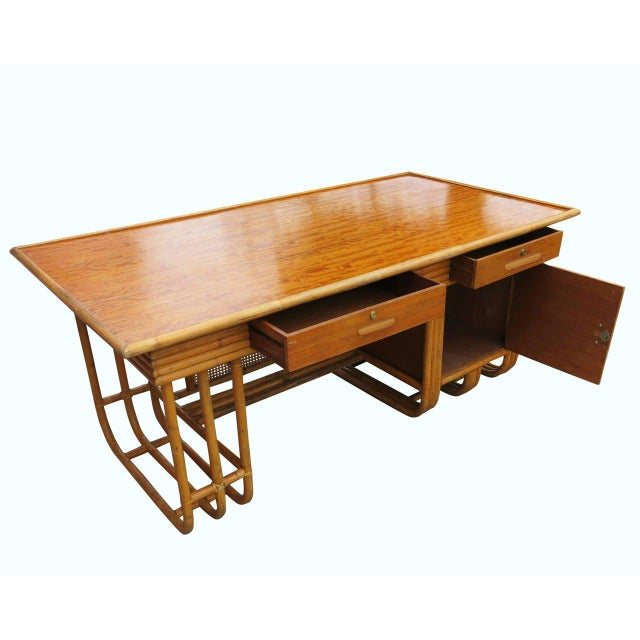 Restored Large Jean Royère Style Streamline Rattan Executive Desk - Image 3 of 8