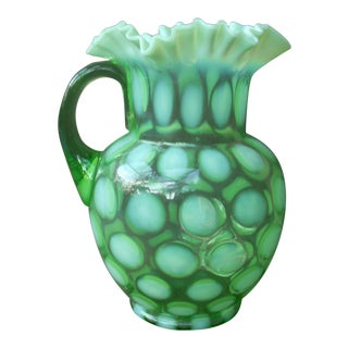 Green Art Glass Pitcher