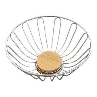 Mid-Century Wood Based Metal Bowl