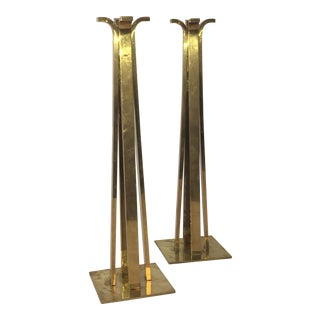 Monumental Brass Candlesticks - A Pair