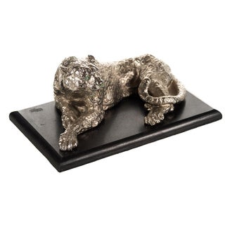 Silver-Plate Seated Leopard Sculpture