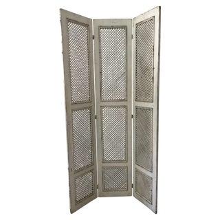 Vintage White Wood Trellis Room Divider