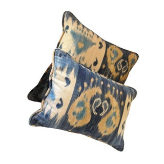 Decorative Blue & Yellow Ikat Pillows