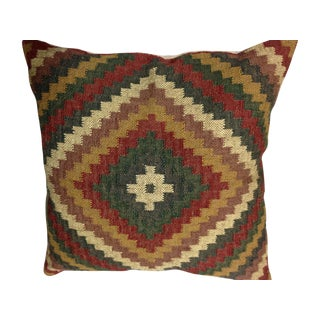 Brown, Red & Green Kilim Throw Pillow
