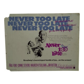 "Vintage Movie Poster ""Never Too Late"" by Paul Ford & Connie Stevens 1965"
