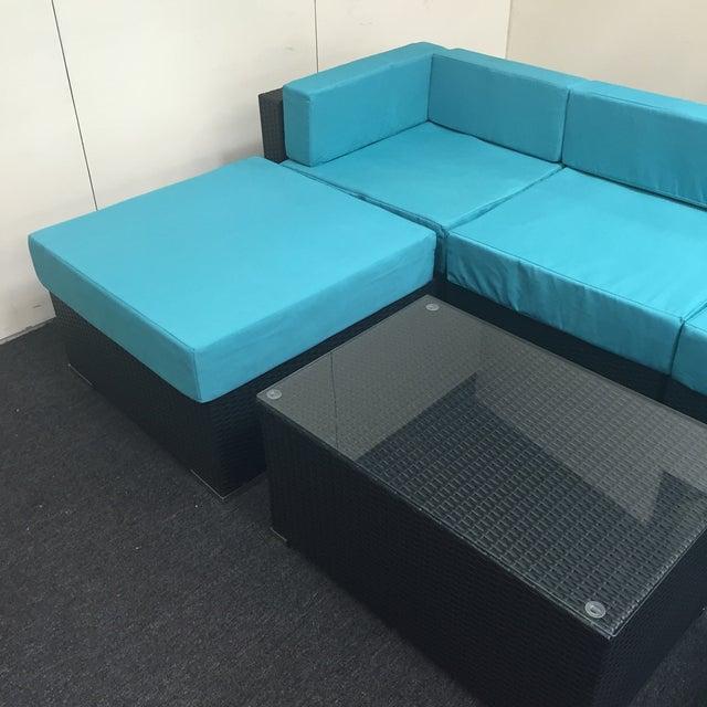 Image of Turquoise Wicker Patio Set