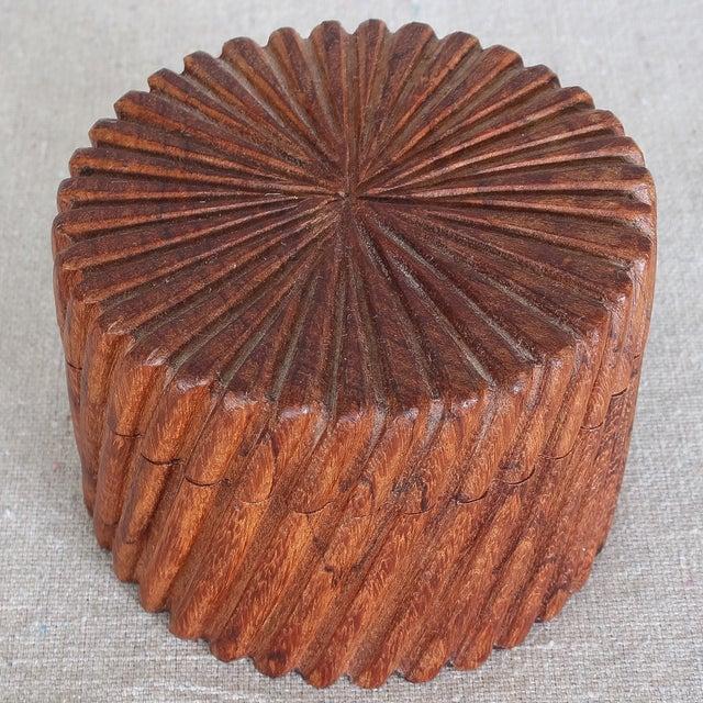 Image of Hand Carved Indian Sheesham Nesting Boxes - 3