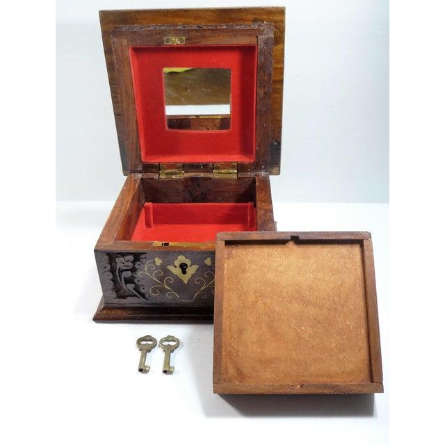 Vintage Square Carved Wood Box - Image 10 of 11