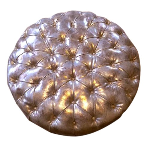 Glimmering Gold Tufted Ottoman - Image 1 of 4