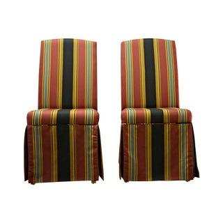 Striped Skirt Chairs - A Pair