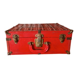 Vintage Red Plaid Suitcase