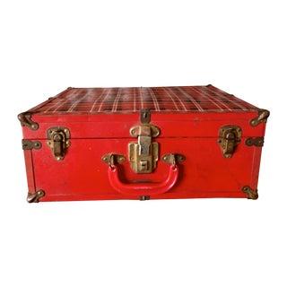Vintage Red Plaid Suitcase