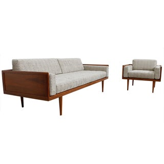 Mel Smilow Walnut Exposed Case Frame Sofa & Chair