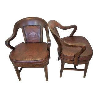 Solid Wood Faux Croc Doten-Dunton Desk Chairs - A Pair